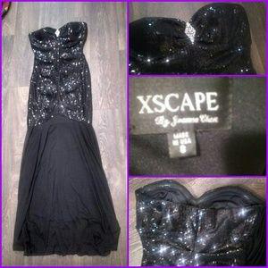 A strapless sequin dress
